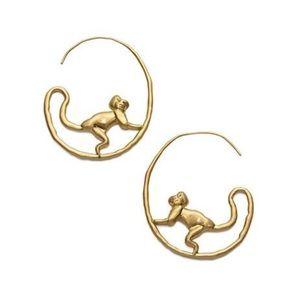 Tory Burch Call of the Wild Monkey Hoop Earrings